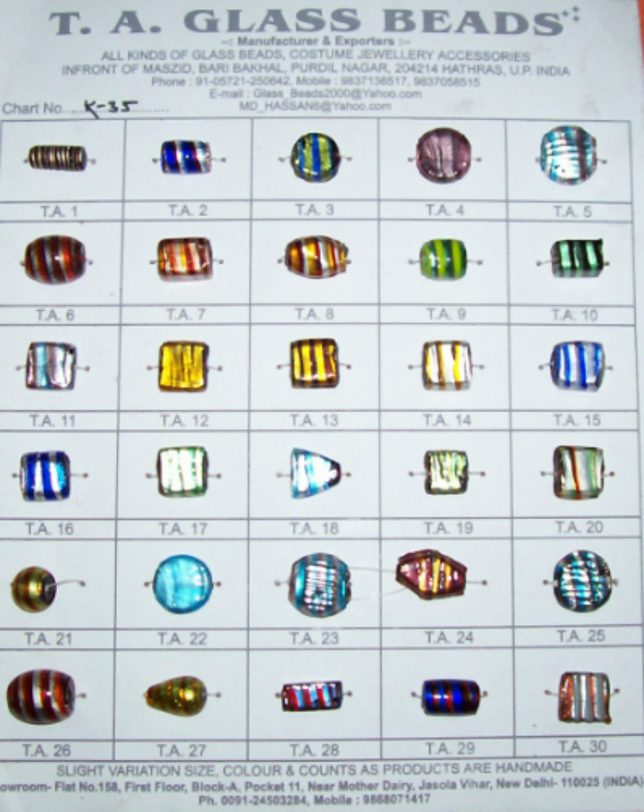SILVER FOIL SMALL SIZE GLASS BEADS