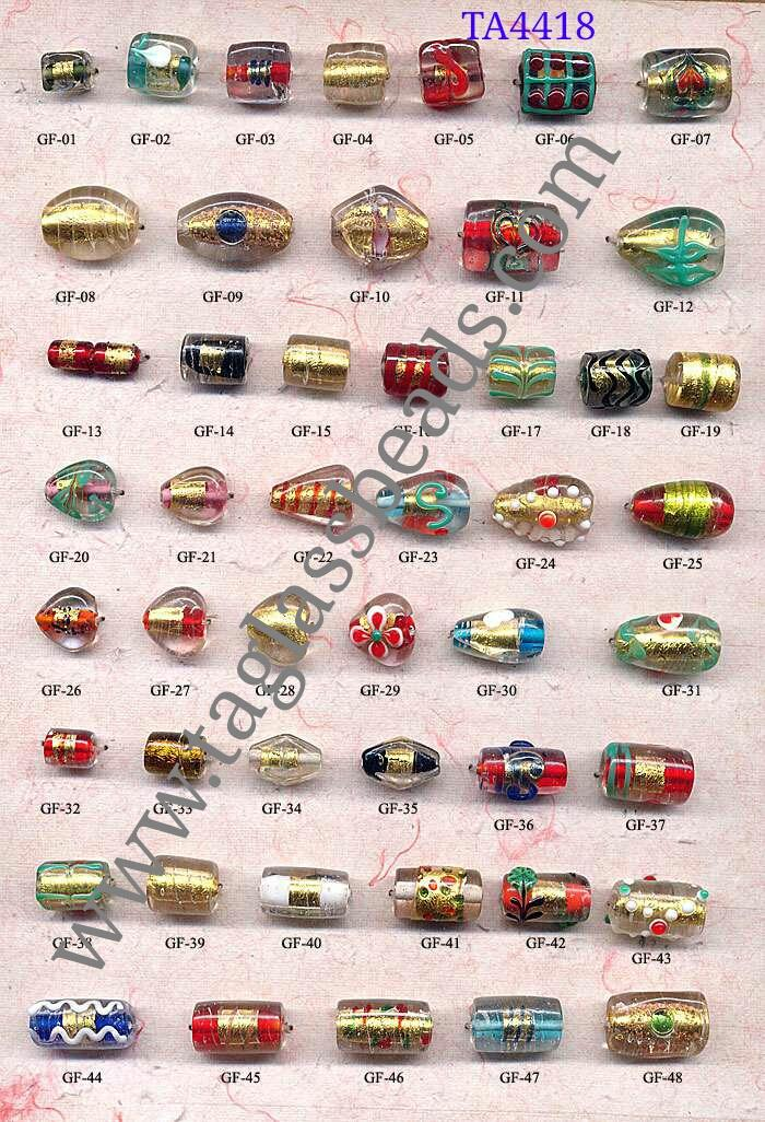 GOLD FOIL GLASS BEADS