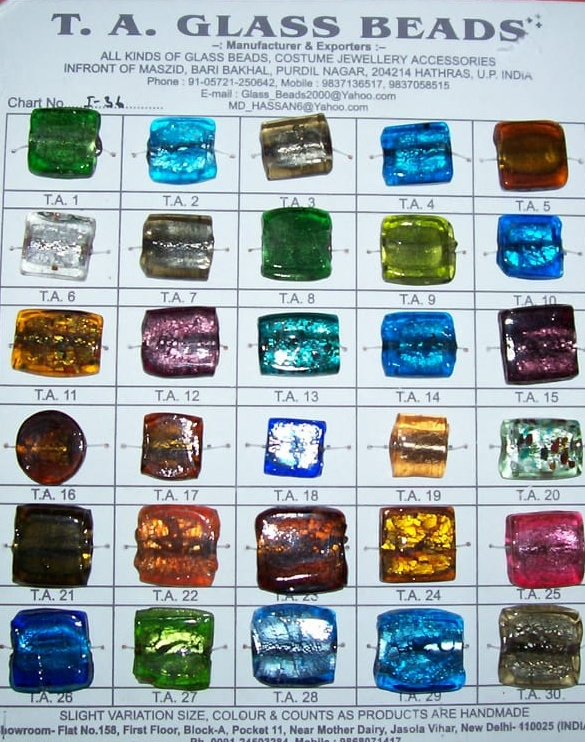 SILVER FOIL MIX STYLE GLASS BEADS